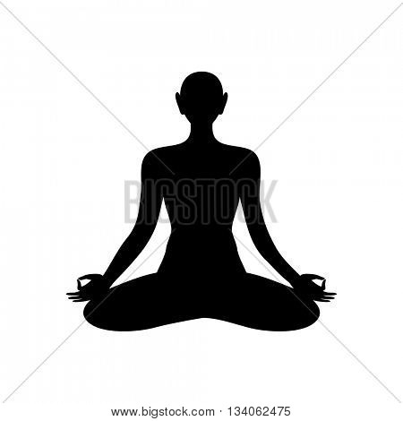 Yoga Lotus. Yoga logo - design template. Silhouette of meditating person. Yoga, Health Care, Beauty, Spa, Relax, Meditation, Nirvana concept symbol. Vector graphic illustration.