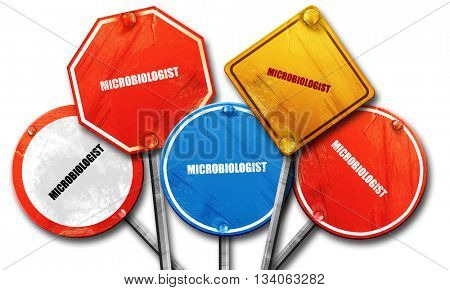 microbiologist, 3D rendering, rough street sign collection