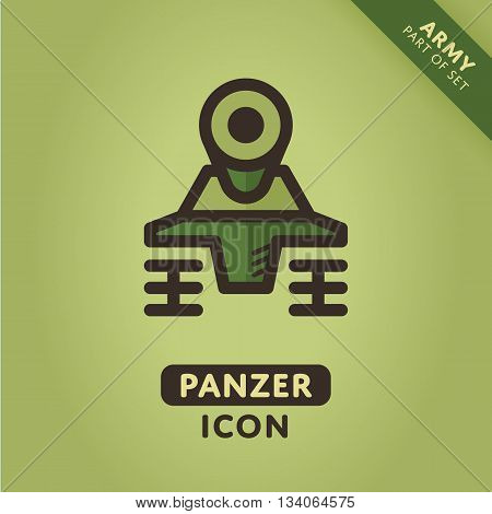 Vector tank icon. Military Panzer sign. Army symbol