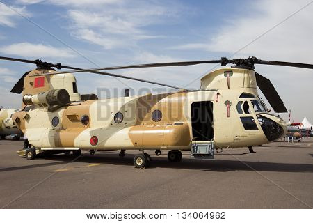 MARRAKECH MOROCCO - APR 28 2016: New CH-47D Chinook helicopter at the Marrakech Air Show