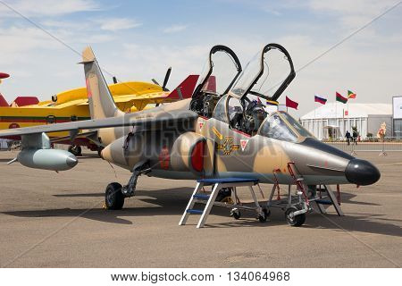 MARRAKECH MOROCCO - APR 28 2016: Moroccan Air Force Dassault Alpha Jet fighter jet on display at the Marrakech Air Show