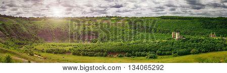 Spring view of Chervonohorod Castle ruins ( Nyrkiv village Zalischyky region Ternopil Oblast Ukraine)