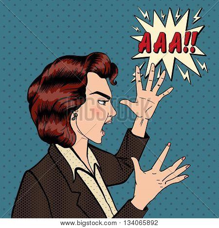 Angry Woman. Furious Girl. Shouting Woman. Pop Art Banner. Vector illustration