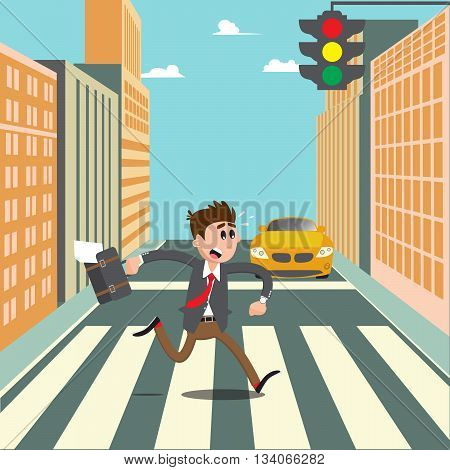 People on the Crosswalk. Businessman Hurry to Work. Vector illustration