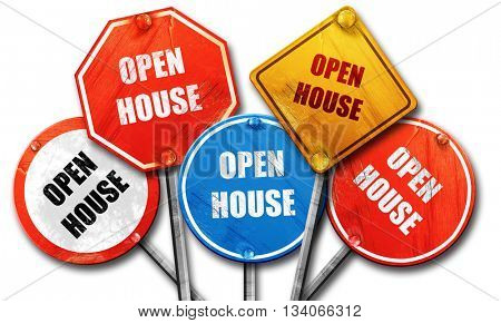 Open house sign, 3D rendering, rough street sign collection