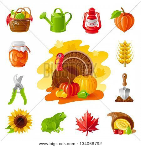 Autumn nature gardening icon set with farm and agriculture icons. Fruit basket, lamp, jem, secateurs, ear, sunflower, frog, maple leaf, horn of plenty, shovel, turkey and pumpkin