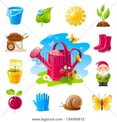 Nature gardening icon set with farm and agriculture icons. Watering can, garden gnome, work gloves, wheelbarrow, gumboots, flower pot and some nature design elements - butterfly, strawberry, sprout.