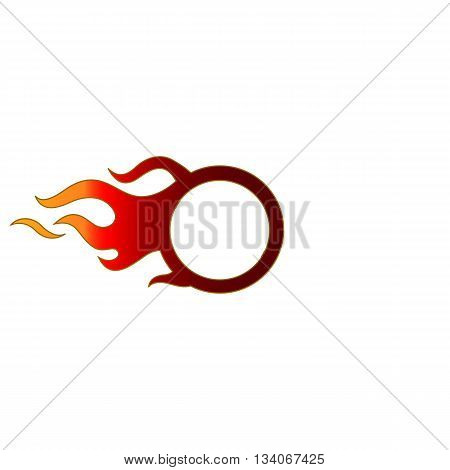 Abstract circle of fire vector illsutration isolated on white background.