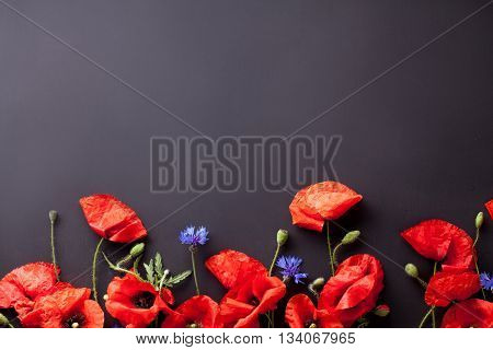 Heads of red poppies and blue cornflowers on the bottom of black background flat lay