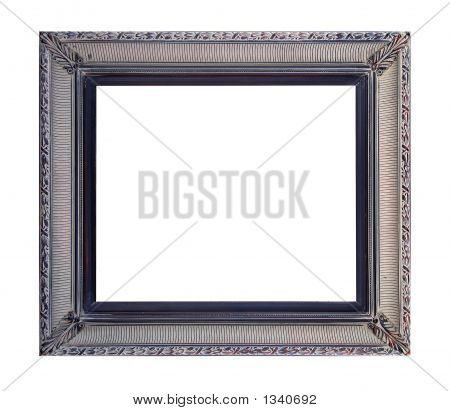 antique frame in gray tones on white background poster