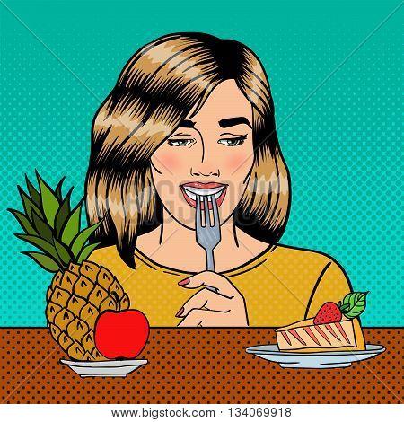 Beautiful Woman Choosing Food Between Fruits and Cheesecake. Pop Art. Vector illustration