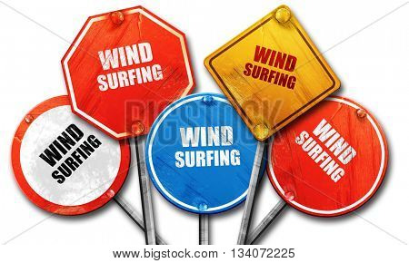 wind surfing sign background, 3D rendering, rough street sign co