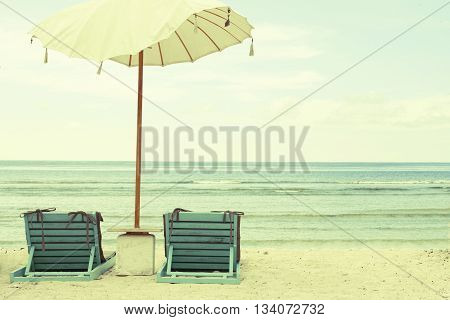 Beach Umbrella and Chairs - Vintage Postcard. Retro Styled Old-fashioned