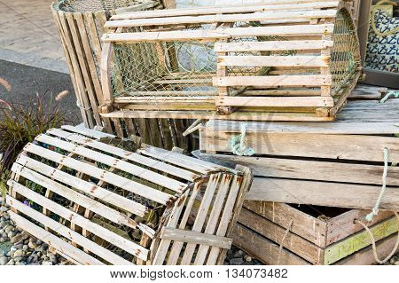 Old Wood Lobster Traps on a Dock
