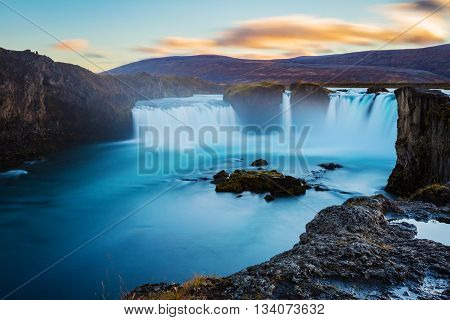 Godafoss waterfall long exposure image sunset in Iceland