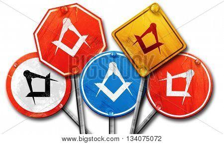 Masonic freemasonry symbol, 3D rendering, rough street sign coll poster