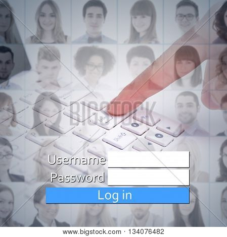 new account registration concept - login box people faces and hand on laptop keyboard