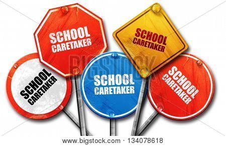 school caretaker, 3D rendering, rough street sign collection