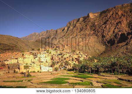 Village of Bilad Sayt in Al Hajar Mountains in the Sultanate of Oman