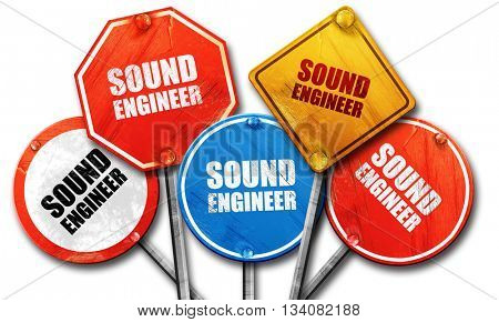 sound engineer, 3D rendering, rough street sign collection