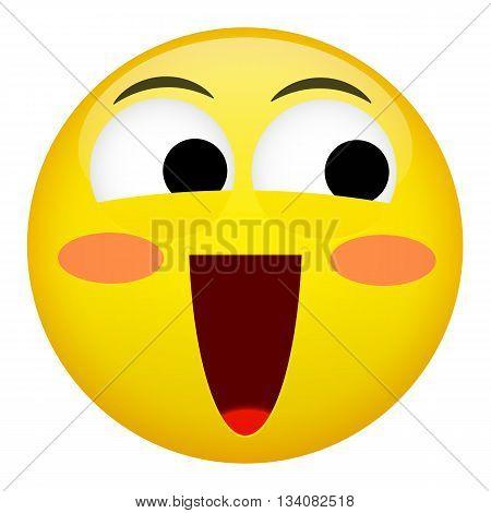 Embarrassment confusion smile laugh emotion. Emoji illustration.