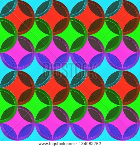 Glass circles texture. Red blue purple green colors. Illustration background.