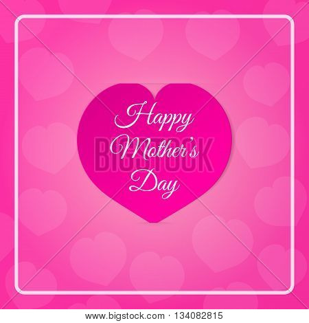Pink paper heart with congratulations Happy Mother's DAY inserted in the notch of the paper sheet with flowers. Illustration background.