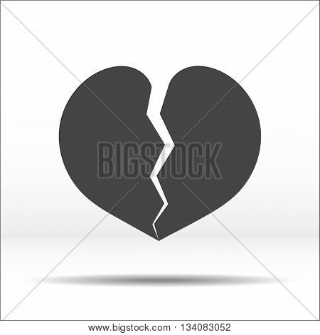 Broken into two halves grey heart. White-blackillustration and icon.