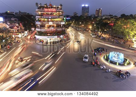 Hanoi Vietnam: February 23 2016: Aerial view of Hanoi at twilight at intersection locating next to Hoan Kiem lake center of Hanoi.