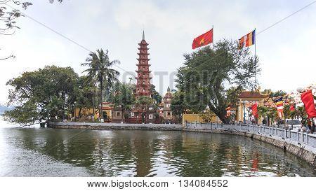 Hanoi Vietnam: February 23 2016: Tran Quoc pagoda the oldest Buddhist temple in Hanoi.