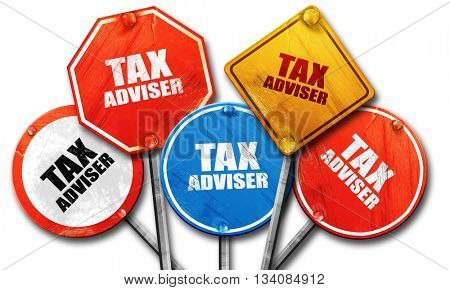 tax adviser, 3D rendering, rough street sign collection