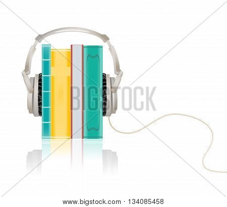 audio concept picture with headphones and books. vector illustration