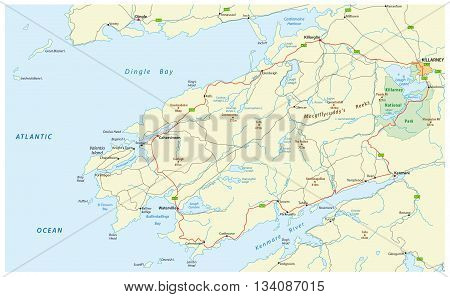 map of tourist panoramic coastal road Ring of Kerry, ireland