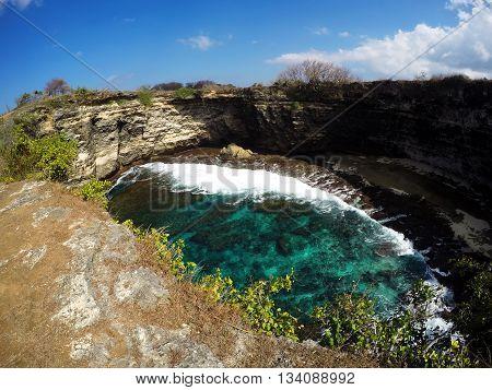 Tunnel Crater Coastline At Nusa Penida Island