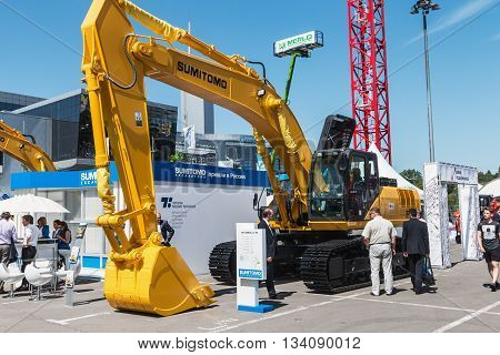 RUSSIA MOSCOW - May 31 2016: exhibits cars and construction equipment International Specialized Exhibition of Construction Equipment and Technologies at Crocus Expo