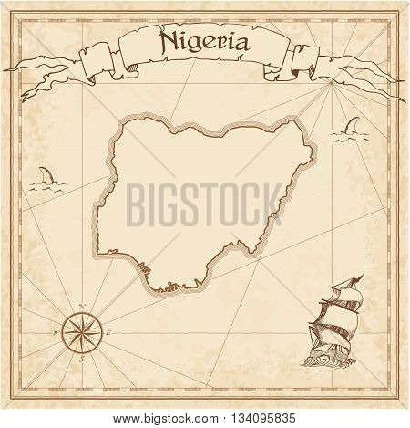 Nigeria Old Treasure Map. Sepia Engraved Template Of Pirate Map. Stylized Pirate Map On Vintage Pape