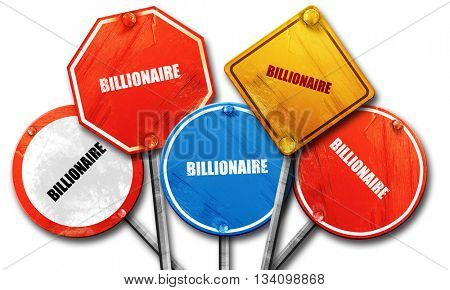 billionaire, 3D rendering, rough street sign collection