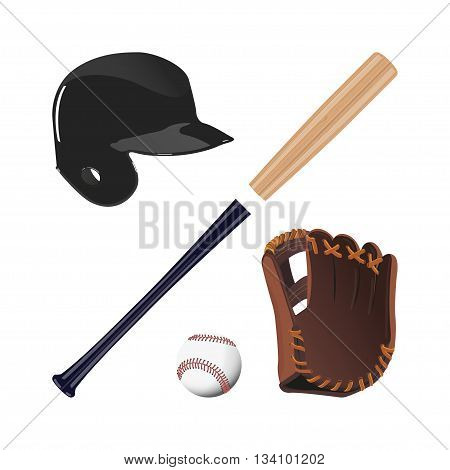 Items for baseball : the ball glove bat helmet. A collection of baseball equipment on a white background