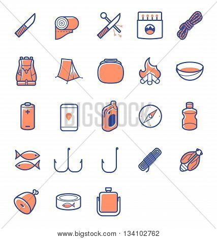 colored line icon set for camp survivals