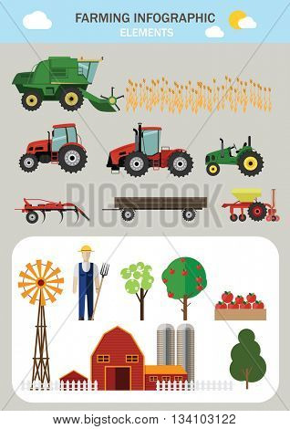 Farming infographic elements. Flat design. Vector illustration.