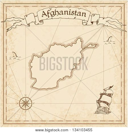 Afghanistan Old Treasure Map. Sepia Engraved Template Of Pirate Map. Stylized Pirate Map On Vintage