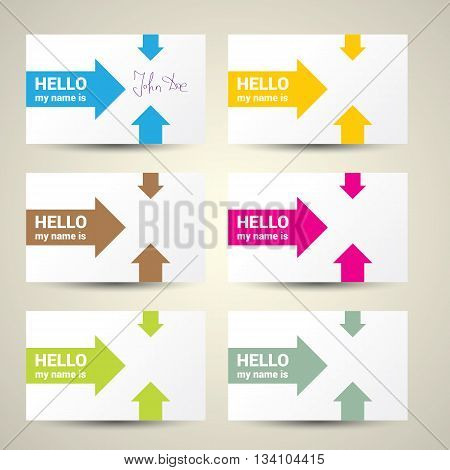 Hello My Name Is. Name Tag Set. Vector Business card set