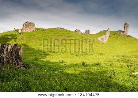 Remains of Harbottle Castle, are situated on a mound in the Coquetdale Valley Northumberland