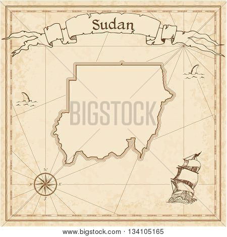 Sudan Old Treasure Map. Sepia Engraved Template Of Pirate Map. Stylized Pirate Map On Vintage Paper.