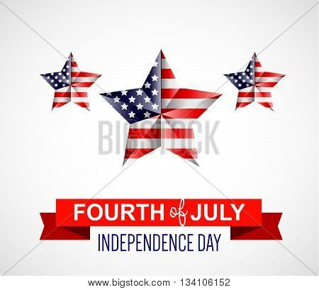 Fourth of July poster. Independence Day USA. Fourth of July card with USA flag. Fourth of July illustration poster