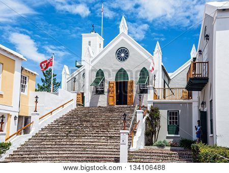 ST.GEORGE BERMUDA MAY 27 - The historic Anglican St. Peters Church dating back to 1620 on May 27 2016 in St. George's Bermuda.