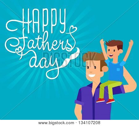 Happy fathers day background. Happy fathers day card. Calligraphy lettering for Fathers Day. Happy fathers day illustration