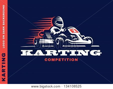 Kart racing winner, logo illustration on a dark background