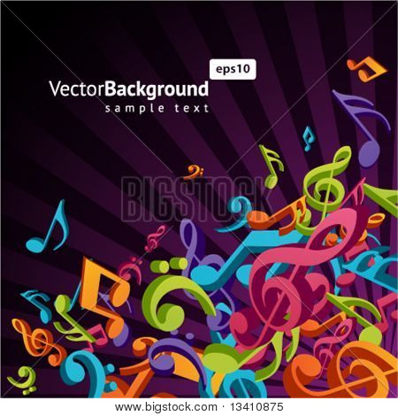 3d colorful music background with fly notes