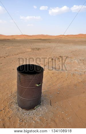Empty metal canister in Sahara Desert, Morocco, North Africa
